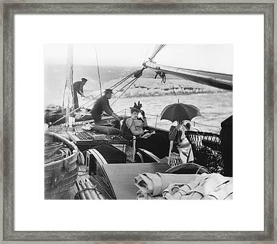 Sailing Ship Women Passengers Framed Print by Underwood Archives