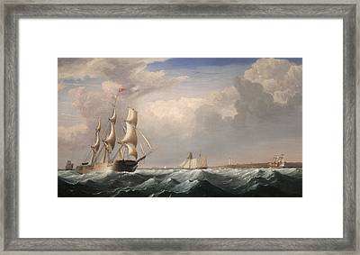 Sailing Ships Off The New England Coast Framed Print by Fitz Hugh Lane