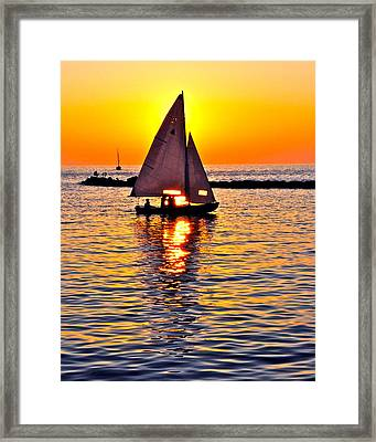 Sailing Silhouette Framed Print by Frozen in Time Fine Art Photography