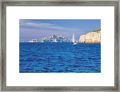 Sailing South Of France Framed Print by Joan Herwig