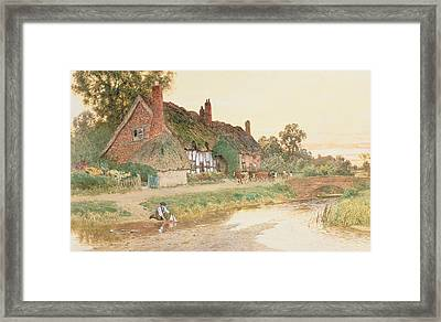 Sailing The Boat Framed Print by Arthur Claude Strachan