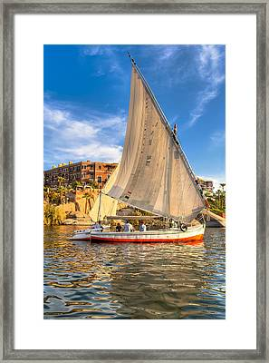 Sailing The Nile On A Beautiful Felucca Framed Print