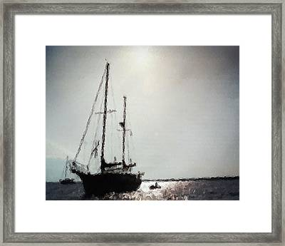 Out Sailing The Seas Framed Print by Belinda Lee