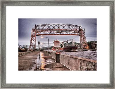 Sailing Through The Duluth Aerial Lift Bridge Framed Print by Mark David Zahn
