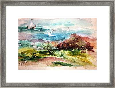 Sailing Towards Anywhere Framed Print by Mary Spyridon Thompson