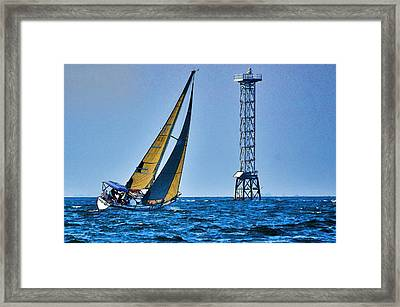 Framed Print featuring the photograph Sailing Towards The Tower by Pamela Blizzard