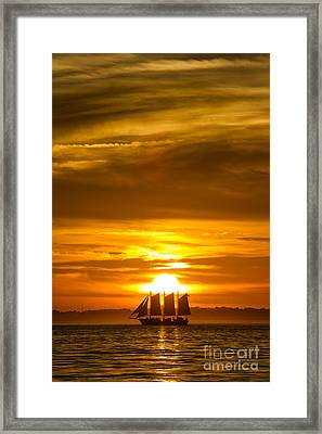 Sailing Yacht Schooner Pride Sunset Framed Print by Dustin K Ryan