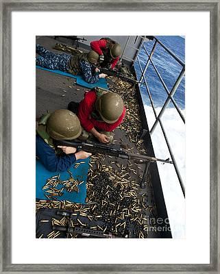 Sailors Fire M240 Machine Guns Framed Print by Stocktrek Images