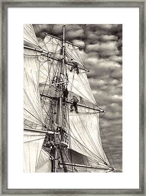Sailors In Rigging Of Tall Ship Framed Print by Cliff Wassmann
