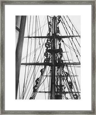 Sailors In The Rigging Framed Print by Underwood Archives