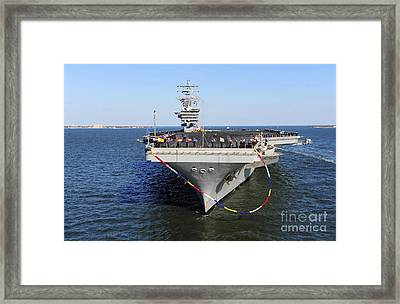 Sailors Man The Rails Aboard Uss Dwight Framed Print by Stocktrek Images