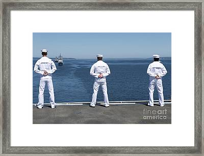 Sailors Man The Rails Aboard Uss Essex Framed Print by Stocktrek Images