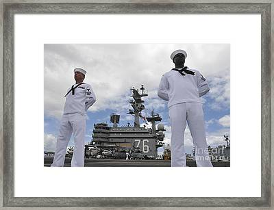 Sailors Man The Rails Aboard Uss Ronald Framed Print by Stocktrek Images