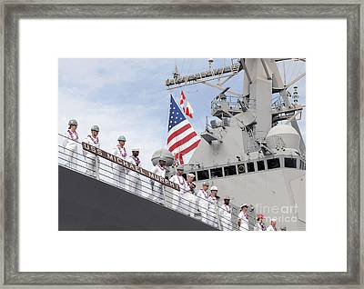 Sailors Man The Rails Aboard Uss Framed Print by Stocktrek Images