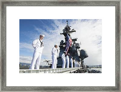 Sailors Man The Rails As Aboard Uss Framed Print by Stocktrek Images