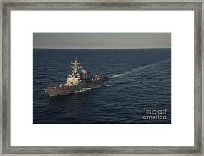 Sailors Man The Rails Of Uss Stockdale Framed Print by Stocktrek Images