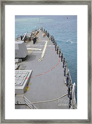 Sailors Man The Rails On Uss Mccampbell Framed Print by Stocktrek Images