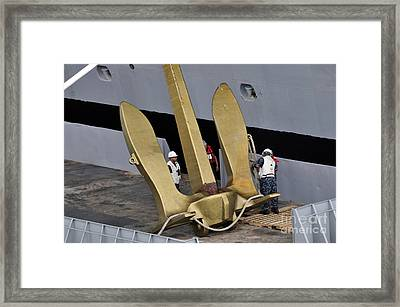 Sailors Prepare To Conduct Maintenance Framed Print