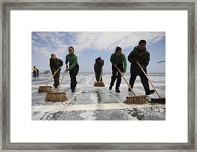 Sailors Scrub The Flight Deck Framed Print