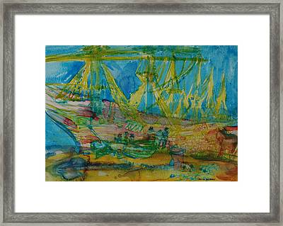 Sailors With A Horse Wc On Paper Framed Print