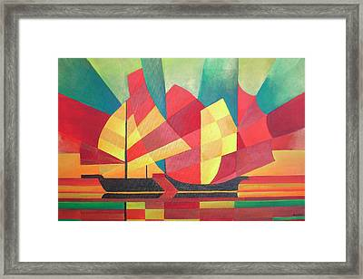 Framed Print featuring the painting Sails And Ocean Skies by Tracey Harrington-Simpson