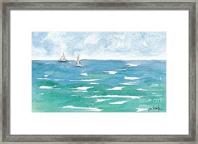 Sails At Sea Framed Print by Pat Katz