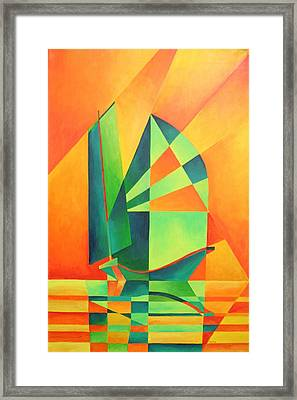 Framed Print featuring the painting Sails At Sunrise by Tracey Harrington-Simpson