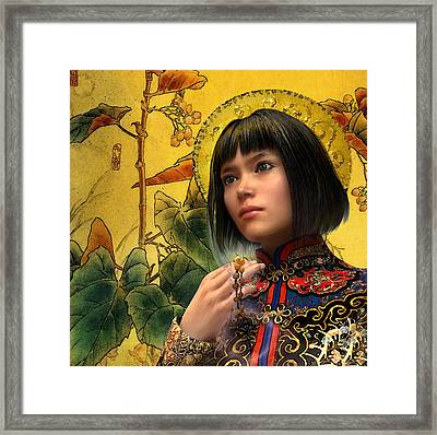 Framed Print featuring the painting Saint Agatha Lin Zhao Of China by Suzanne Silvir