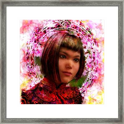 Framed Print featuring the painting Saint Agatha Lin Zhao From China by Suzanne Silvir