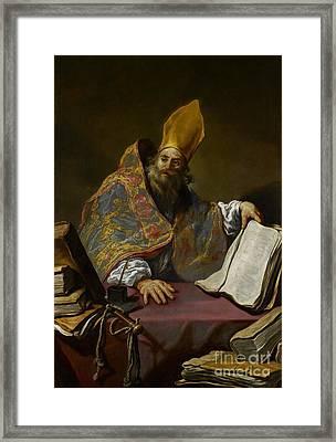 Saint Ambrose Framed Print by Claude Vignon