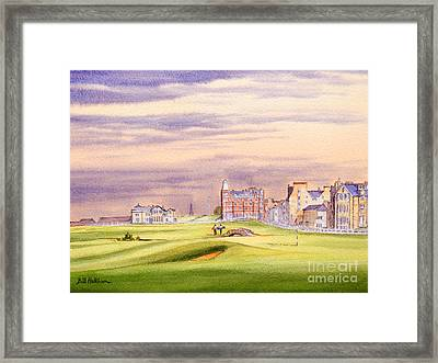 Framed Print featuring the painting Saint Andrews Golf Course Scotland - 17th Green by Bill Holkham