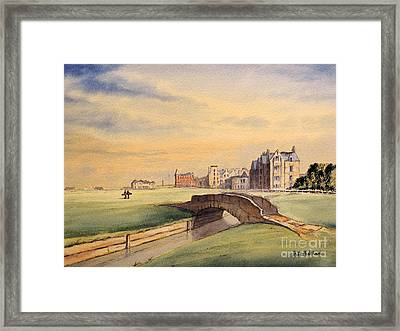 Framed Print featuring the painting Saint Andrews Golf Course Scotland - 18th Hole by Bill Holkham
