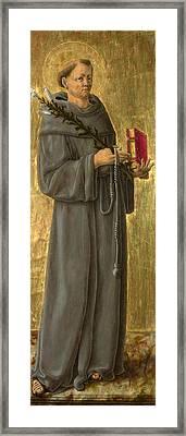Saint Anthony Of Padua Framed Print by Giorgio Schiavone
