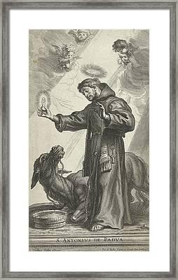 Saint Anthony Of Padua Made A Wonder With Donkey Kneeling Framed Print by Pieter De Bailliu (i) And Pieter De Bailliu I