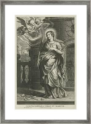 Saint Barbara As Martyr Framed Print by Schelte Adamsz. Bolswert