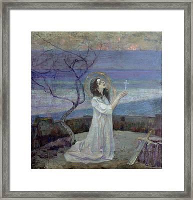 Saint Barbara Framed Print by Mikhail Vasilievich Nesterov