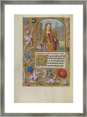 Saint Barbara With A Tower Workshop Of Master Of The First Framed Print by Litz Collection