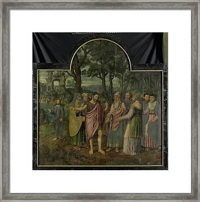 Saint Barbara With Kneeling Donor Berbel Or Barbara Van Der Framed Print by Litz Collection