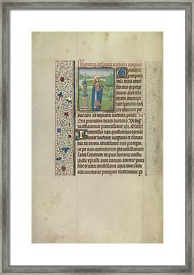 Saint Barbara Workshop Of Willem Vrelant, Flemish, Died 1481 Framed Print by Litz Collection