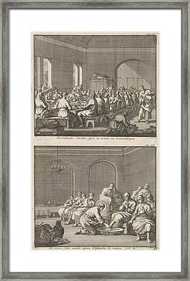 Saint Basil Serves A Meal To The Poor And Christ Washing Framed Print