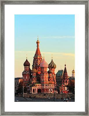 Saint Basils Cathedral On Red Square Framed Print