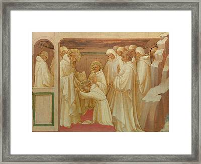 Saint Benedict Admitting Saints Into The Order Framed Print by Lorenzo Monaco