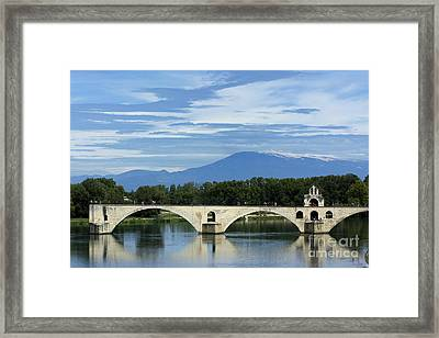 Saint Benezet Bridge Over The River Rhone. View On Mont Ventoux. Avignon. France Framed Print by Bernard Jaubert