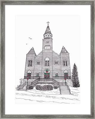 Saint Bridget's Church At Christmas Framed Print