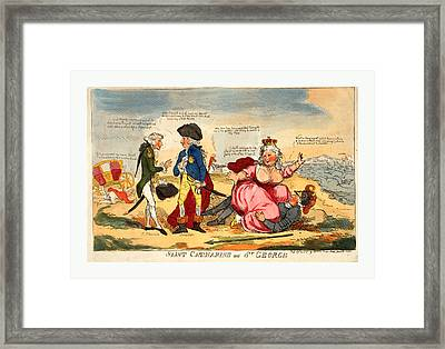 Saint Catharine And St. George, Engraving 1791 Framed Print by Litz Collection