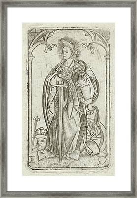 Saint Catherine, Meester Met Het Doorstoken Hart Framed Print by Litz Collection