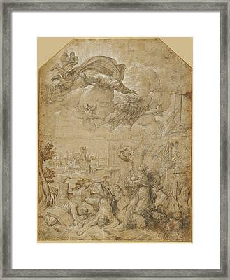 Saint Catherine Of Alexandria At The Wheel Nicolò Dellabate Framed Print by Litz Collection
