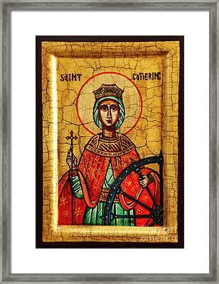 Saint Catherine Of Alexandria Icon Framed Print by Ryszard Sleczka