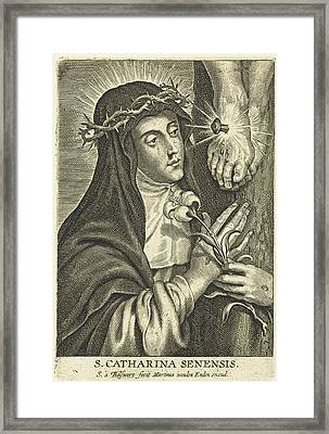 Saint Catherine Of Siena With Stigmata At Crucifix Framed Print