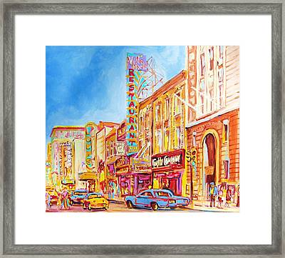 Framed Print featuring the painting Saint Catherine Street Montreal by Carole Spandau